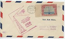 FIRST FLIGHT INAUGURATING NIGHT AIR MAIL CLEVELAND PITTSBURGH / ANDOVER 1929