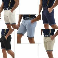 Mens Stretch Belted Chino Shorts Summer Cotton Fashion Casual Roll Up Half Pant