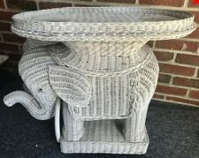 RARE Vintage White Wicker Elephant End Table Stand Very Unique