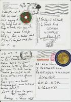 "Round global ""forever"" stamps on two postcards to GB with Cunard ship markings"