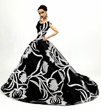 Eaki Silkstone Barbie Fashion Royalty Evening Lace Black Dress Outfit Gown FoR
