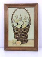 VTG Signed Original Art Easter Painting Farm Farmhouse FOLK Prim EGGS BASKET