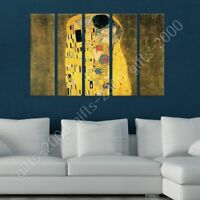 The Kiss by Gustav Klimt   Ready to hang canvas   5 Panels Wall art painting