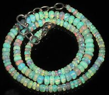 """44 Carat 16"""" 3 to 5 mm Natural Ethiopian Welo Fire Opal Beads Necklace -EB92923"""