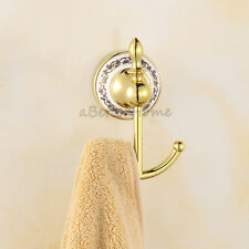 Gold Double Wall Mounted Hooks Bathroom Kitchen Towel Hook Holder Clothes Hanger