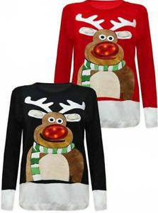 Men Women Unisex Sweater Top Christmas Nose LED Light Up Jumper Rudolph Novelty