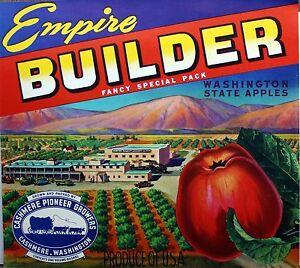 Empire Builder Wash State Vintage Apple Label Original Fruit Crate Label