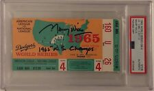 """Maury Wills Signed 1965 Game 4 World Series Ticket """"1965 WS Champs""""  Dodgers PSA"""