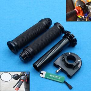 Black 7/8'' Motorcycle Motorbike Handlebar CNC Hand Grip &Throttle Twist Tube