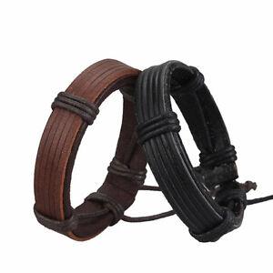 Punk Mens Handmade Black Brown Leather Bracelet Bangle Wristband Cuff Jewelry