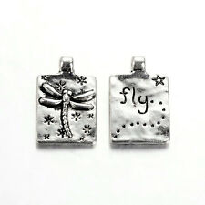 Word Charms Pendants Quote Charms Inspirational FLY Dragonfly Charms Silver 10pc