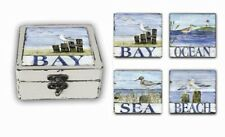 Sea Birds Beach Ocean Bay Coasters Set of 4 & Box Holder Nautical Coastal Decor