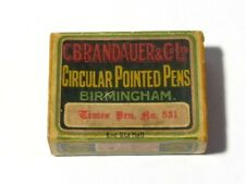 More details for antique fountain pen nibs in box c.brandauer times no. 531, b'ham advertising