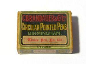 Antique Fountain Pen Nibs in BOX C.Brandauer Times No. 531, B'ham Advertising