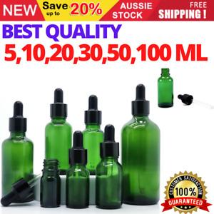 5-100ML Green Glass Liquid Dropper Reagent Eye Pipette Essential Oils Bottle AU