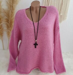 Italy Pullover Grob Strick Pulli Oversize Blogger Winter Kuschel 38 40 42 Pink