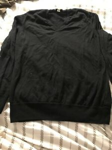 Men's Burberry London Black 100% Extra Fine Merino Wool Sweater M Medium Vneck.i