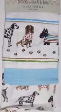 "Cooksmart England Set of 3 Kitchen Towels Dogs in the kitchen "" Best of Show"""