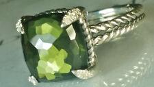 David yurman Chatelaine 11mm Green Orchid and Diamonds Ring, size 6.5