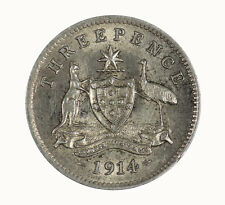 Australia 1914 Threepence KGV Coin gEF with Mint Bloom KEY DATE