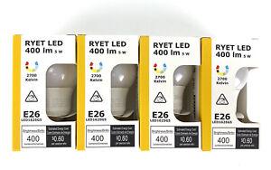 4x IKEA LED Light Bulb E26 400 Lumen Globe Opal White RYET NEW (Lot of 4)