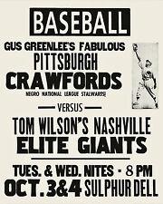 Pittsburgh Crawfords vs Nashville Negro League Game Promo Poster - 8x10 Photo