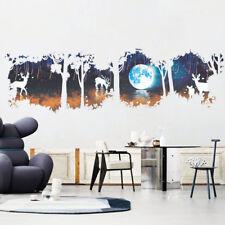 FR_ EG _ Forêt Cerf terre autocollant amovible Mural Chambre DIY Décalques Orn