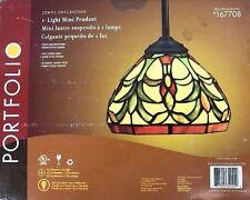 PORTFOLIO Jewel Collection Light Fixture Mini Pendant Tiffany Stain Glass Bronze