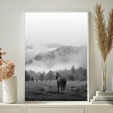 Horse Wall Art Mountain Mist Photograph Illustration Print Poster A4 A3 A2 A1