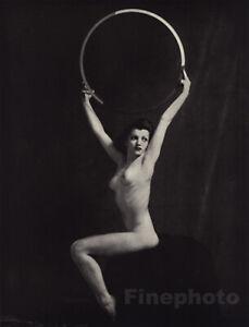 1937 Original Art Deco FEMALE NUDE Hoop Photo Litho ALFRED CHENEY JOHNSTON
