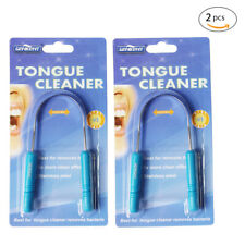 2 X Tongue Mouth Cleaner Scraper Stainless Steel Bad Breath Oral Dental Hygiene
