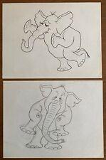 2 Orig T. HEE Disney Animation Artist Ink Over Pencil Drawings Moody ELEPHANT