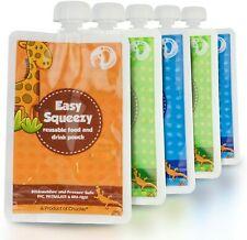 Lot 5 Gourdes Reutilisable 0 Dechets Compote Puree Sans BPA Lavable Congelateur