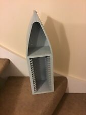 "HANDMADE WOODEN BOAT SHELF / CD RACK UNIT PALE BLUE 22"" TALL"