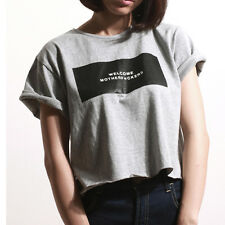 MADHATTER by VAGX WMF Graphic Tee Crop Tee T-shirt Cotton Cropped Top Gray