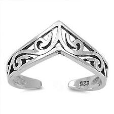 V Shape Filigree Toe Ring Face Height: 6 mm Sterling Silver 925 Usa Seller