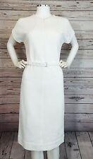 """Diane Von Furstenburg White """"Maizah"""" Twill Zip Front Belted Dress. Size 8"""