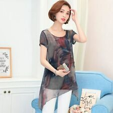 Women Summer Casual Floral Ladies Chiffon Tops Blouse Loose Baggy Tunic T Shirts