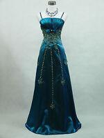 Cherlone Plus Size Satin Dark Blue Sparkle Ball Gown Wedding/Evening Dress 18-20