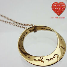 "I love you more Necklace Goldtone 17"" * Recycled Brass Fair Trade"