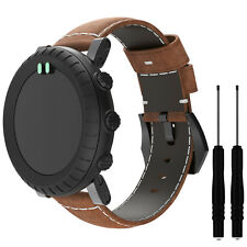 Replacement Genuine Leather Watch Band Strap For Suunto Core All Black With Tool