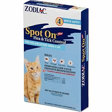 Zodiac Spot On,for cats and kittens under 5lbs, flea and tick control, 4 pack
