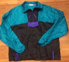 Vtg 80s Blue COLUMBIA Ski Neon Mens Medium Windbreaker INTERTRAINER Jacket M