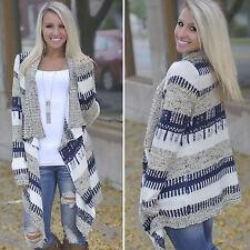 Womens Winter Irregular Waterfall Cardigan Long Sleeve Jumper Sweater Top Shawl