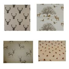 """Fabric Napkins 16""""x16"""" Christmas Stags Head  Stags Wildlife Red Robin Design"""