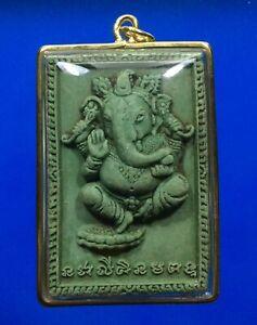 Lord Ganesh Elephant Ganesha Hindu God Gold Micron Case Pendant Om Thai Amulet