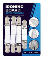 IRONING BOARD COVER FASTENERS ELASTIC BRACE STRAPS LAUNDRY HOME SET OF 4 CLIPS