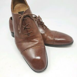 Mercanti Fiorentini ITALY Dress Shoes Oxfords 8.5M Brown Leather Cap Toe