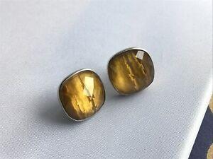 925 Sterling Tigers Eye Stud Earrings checkerboard cut  1.5 cm Maker CF