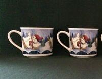 "Holiday Dining by Oneida ""Snow Valley"" set of 2 mugs, snowmen sledding EUC"